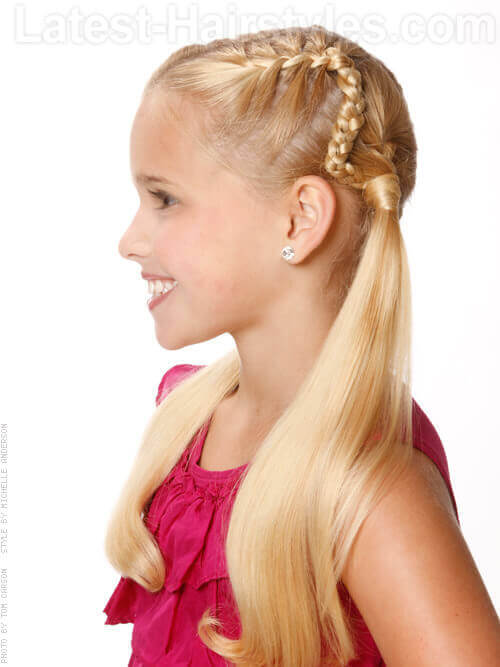 Classic Little Girls Hairstyle with Braids and Pigtails Side