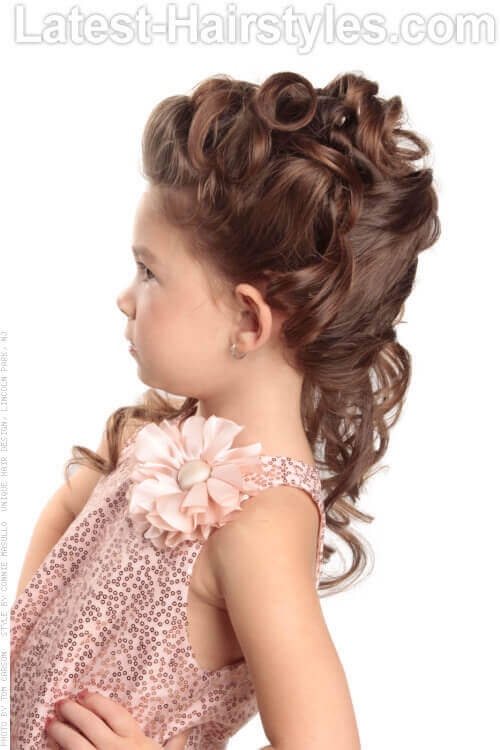 Updo Hairstyle with Curls for Little Girls Side