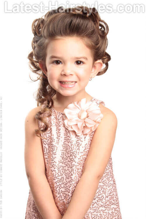 Updo Hairstyle with Curls for Little Girls