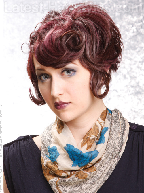 creative auburn swirly hairstyle