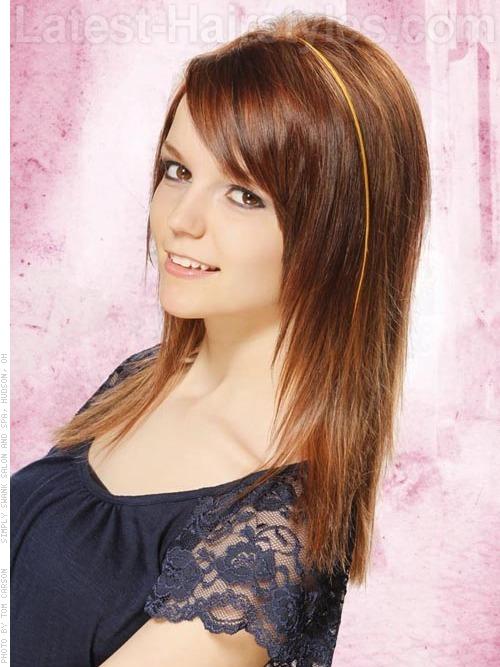 Auburn straight thin hair