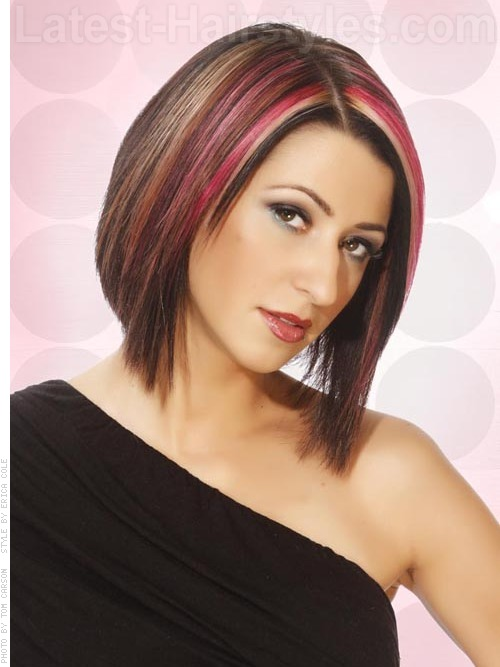 brunette hair with creative pink highlights