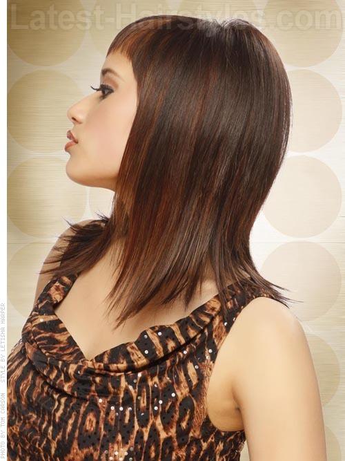 Thin shoulder length hair with short bangs 2