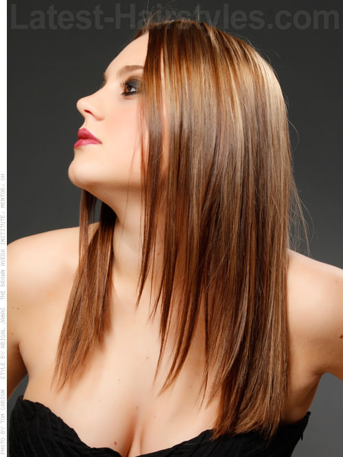 Straight Dark Brown Hair With Light Brown Highlights Images & Pictures ...