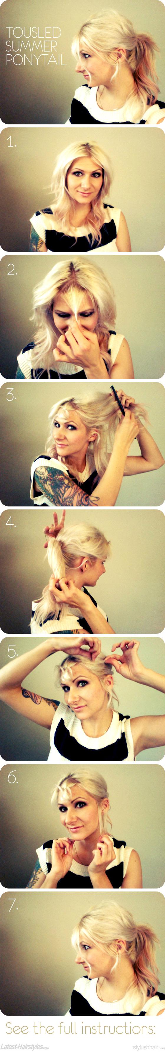 tousled ponytails