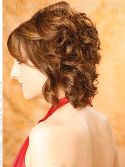 Wavy Brunette Layered Chin-Length Bob Side