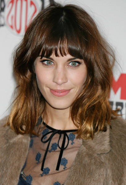 Alexa Chung Medium Brunette Celebrity Hairstyle with Bangs