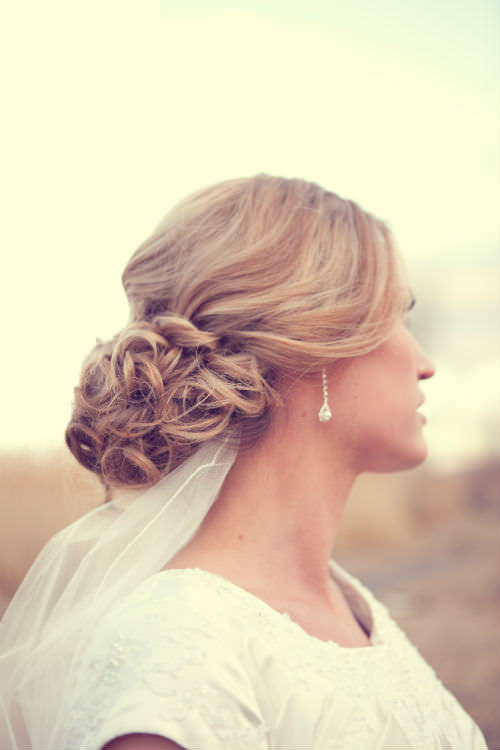 Soft Curly Wedding Updo For Long Hair