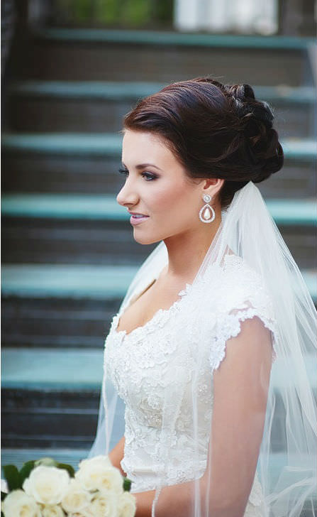 Sleek Brunette Wedding Updo For Long Hair