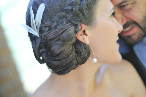 Brunette Bridal Hair With Feathers Accessory