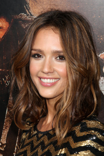 Jessica Alba Tousled Medium Length Celebrity Hairstyle