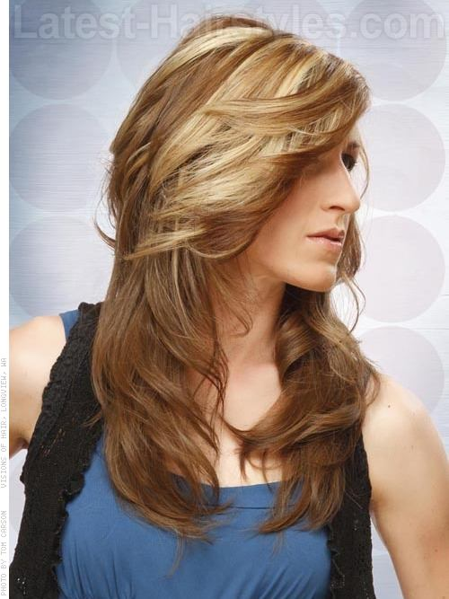 Long Brunette Shag Cut with Light Highlights