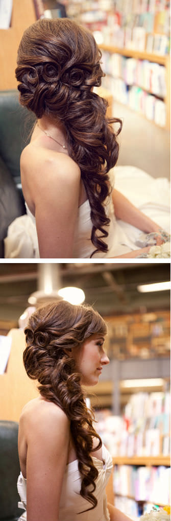 Long Brunette Side Ponytail For Weddings