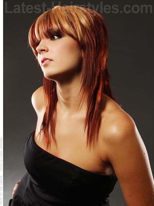 Red Shag Haircut with Bangs and Blonde Highlights