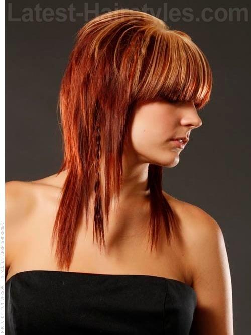 Red Shag Haircut with Bangs