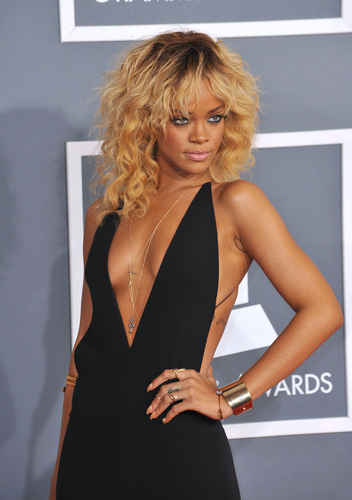 Brunette and Blonde Medium Length Shag - Rihanna Celebrity Hairstyles