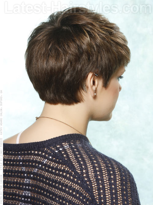A short haircut with cute blonde color angle two
