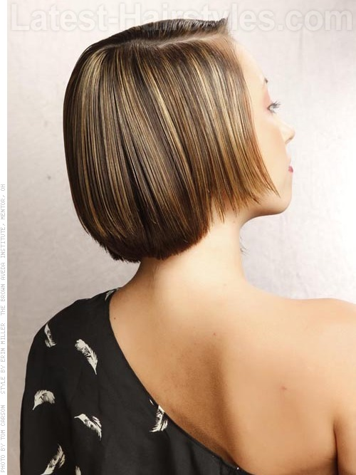 Back view of Teen with uneven bob hairstyle