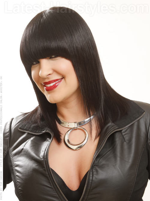 Smooth Black Shag Cut with Long Bangs