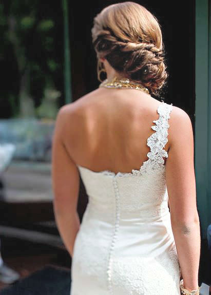 Twisted Brunette Chignon Wedding Hairstyle