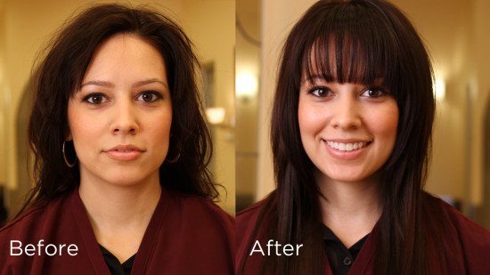 a beautiful hair makeover with bangs