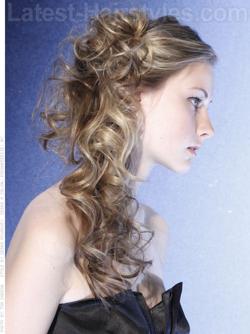 Long Tousled Blonde Hairstyle For School with Side Ponytail - Side View