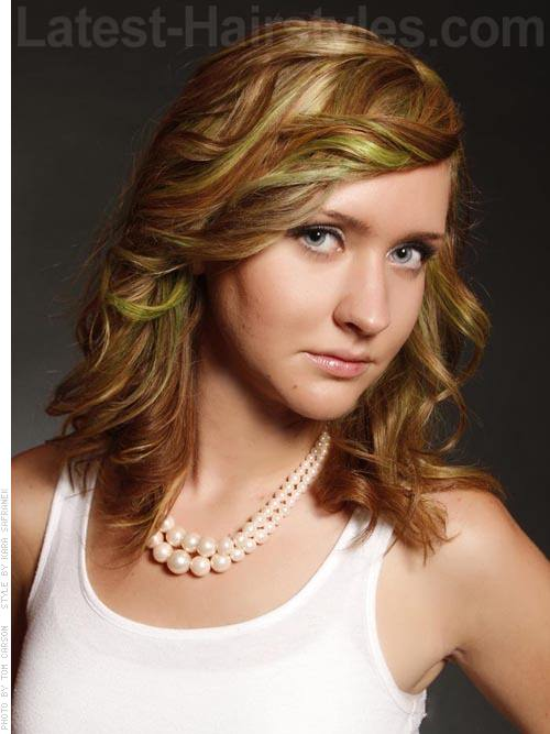 Blonde with Green and Gold Highlights Hairstyle For School