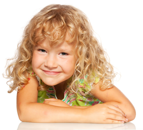 Curly Hair With Bouncy Blonde Bangs - Little Girl Hairstyle