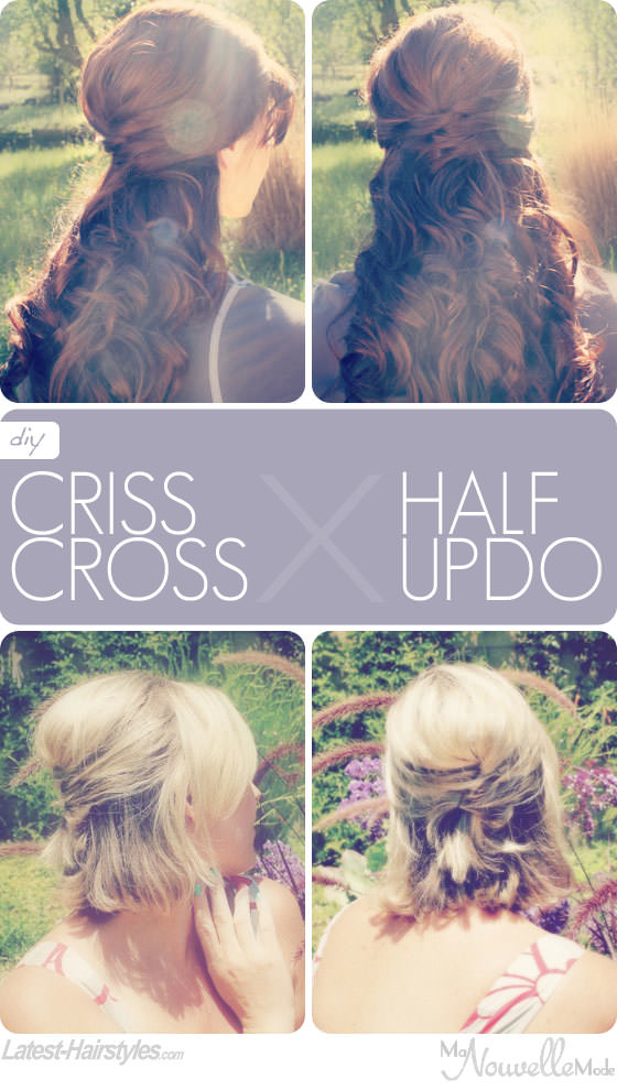 half up criss cross hairstyle tutorial