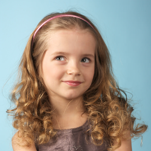 Curly Hair with Pink Headband - Little Girl Style