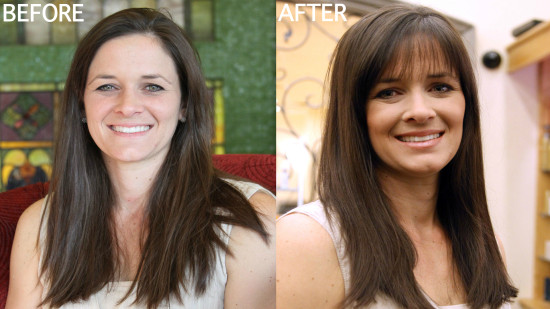 hair makeover with bangs