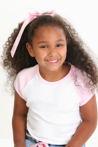 Long Dark Curly Hair with Pink Headband