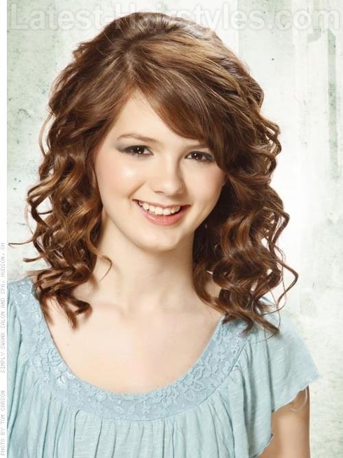 Side Bangs - Medium Curly Brunette Hairstyle