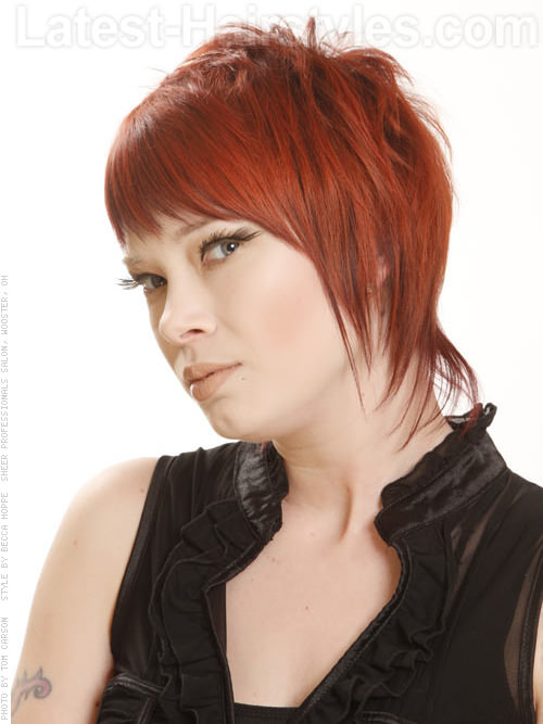 Red Pixie Cut with Long Side Pieces - View 2