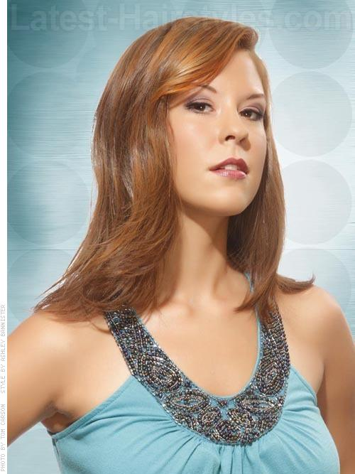 Auburn Sleek Layered Side Part with Highlights