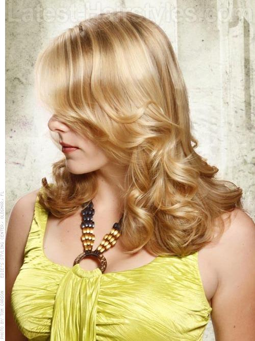 Blonde Bombshell Long Wavy Look Side View