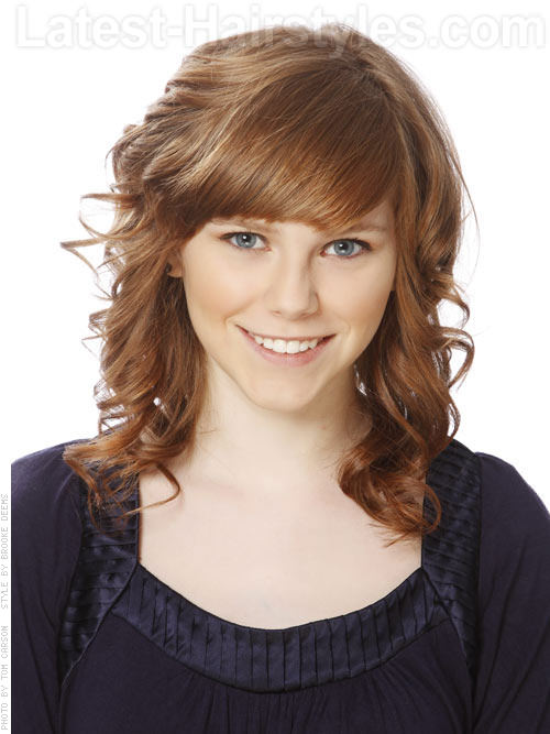 Copper Kid Medium Auburn Style with Waves and Bangs