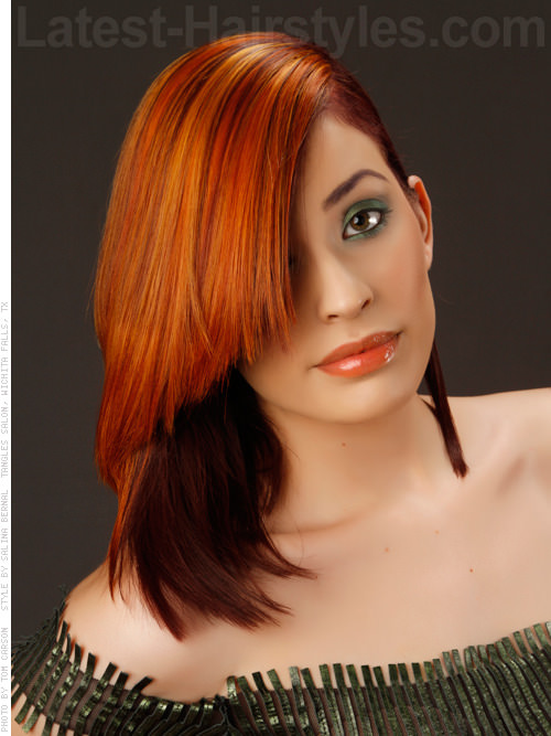 Fiery Style Straight Shiny Silky Red with Bangs