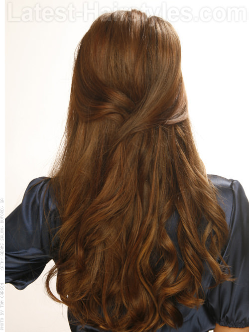 Flirty Curls Long Wavy Look Back View