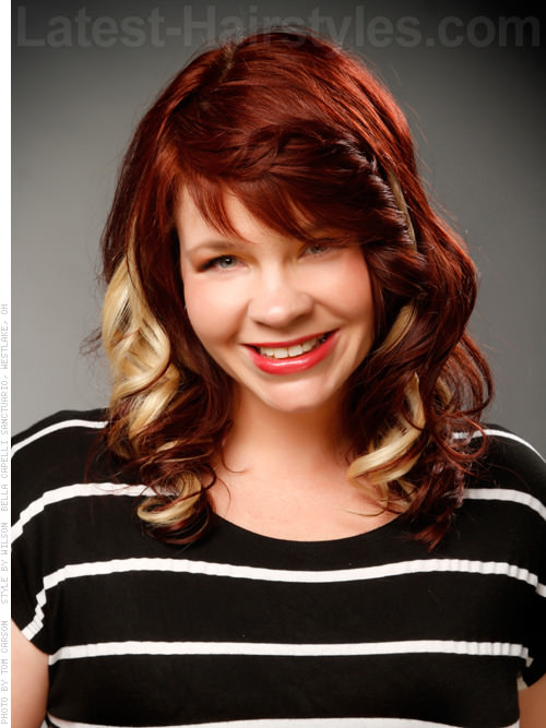 Red Velvet Curls Two Toned Silky Red with Bangs