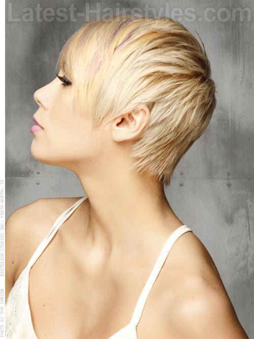 Sculpted Blonde Oval Face Pixie Wispy Side View