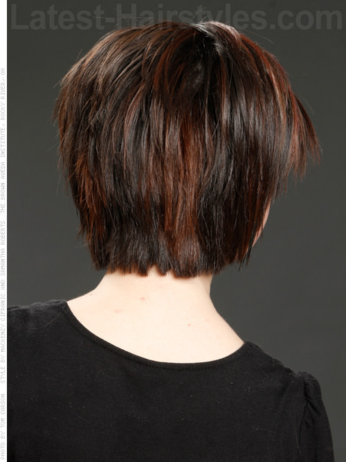 Chocolate Chips Cute Straight Bob with Highlights Back View