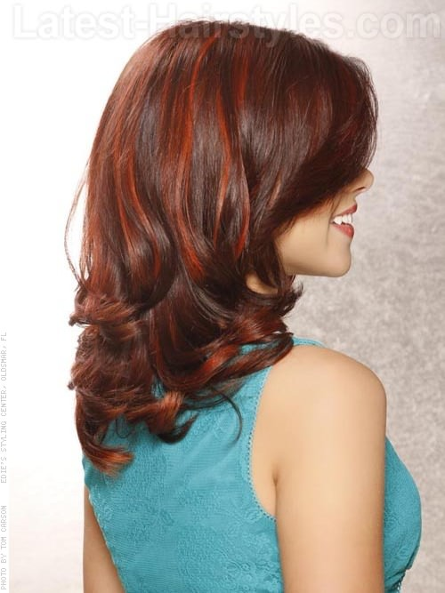 Face Framing Curls Long Wavy Look with Highlights Side View