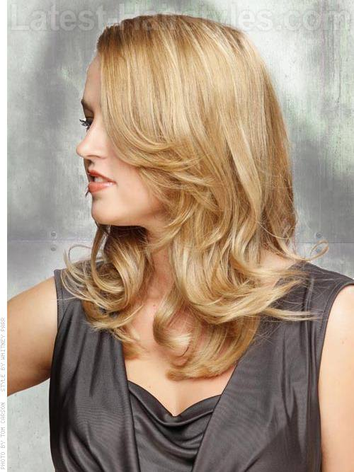 Face Framing Smooth Blonde Layers Side View
