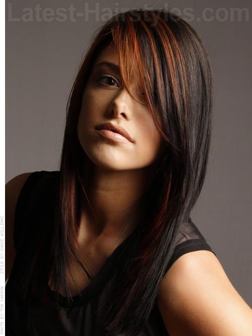 Long Poker Straight Oval Face Hairstyle