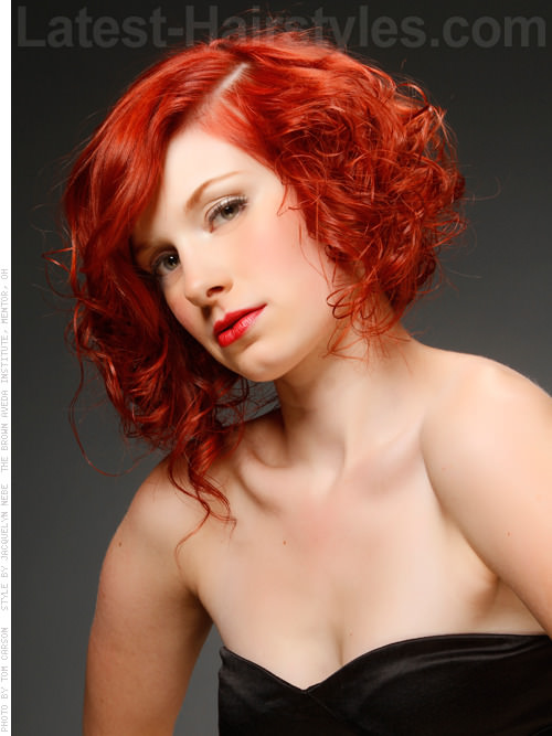 Naturally Curly Funky Red Style Side View
