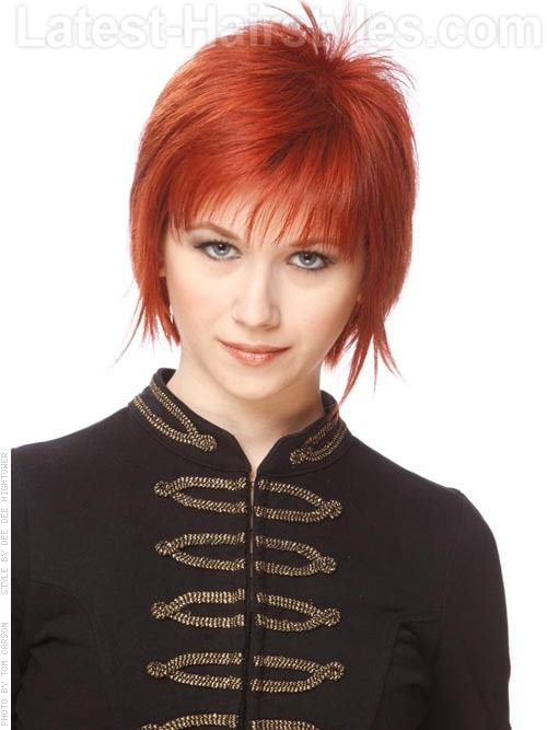 Ravishing Red Cute Piecey Layered Style With Bangs Front View