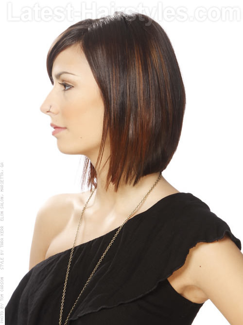 Sleek Bob Sculpted Layers For Oval Faces Side View