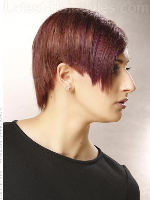 Asymmetrical Auburn Short Haircut Over the Ears - Side View
