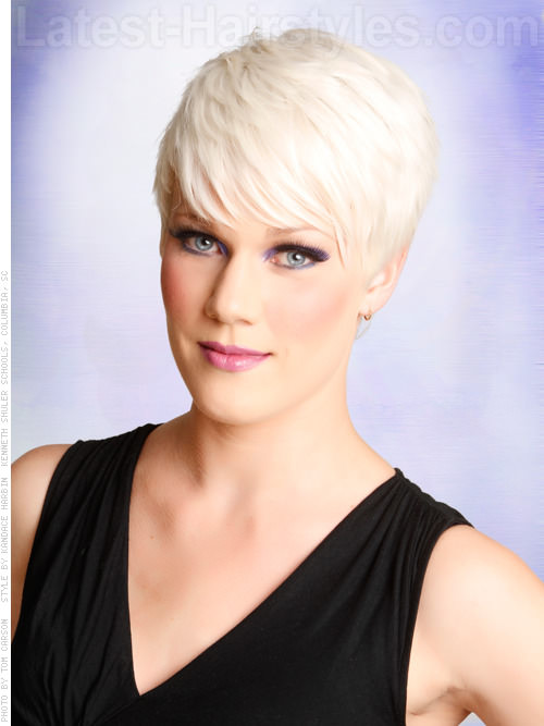 Blonde Ice Platinum Pixie Short Haircut Long Bangs